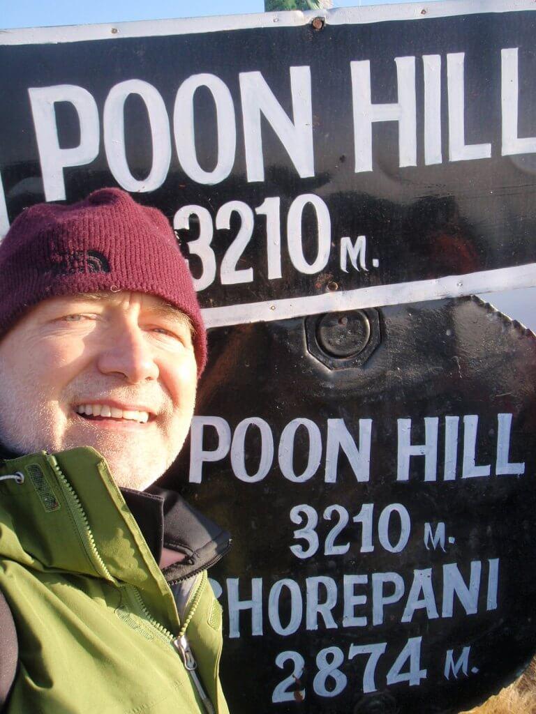 Przewodnik Jerzy Kostrzewa na Poon Hill podczas trekkingu pod Annapurnę